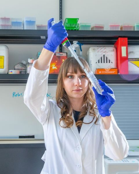 female student working in a laboratory