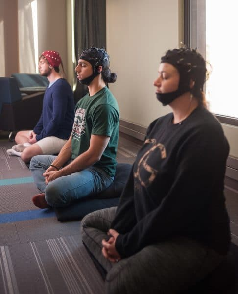 NAU students meditating during EEG monitoring