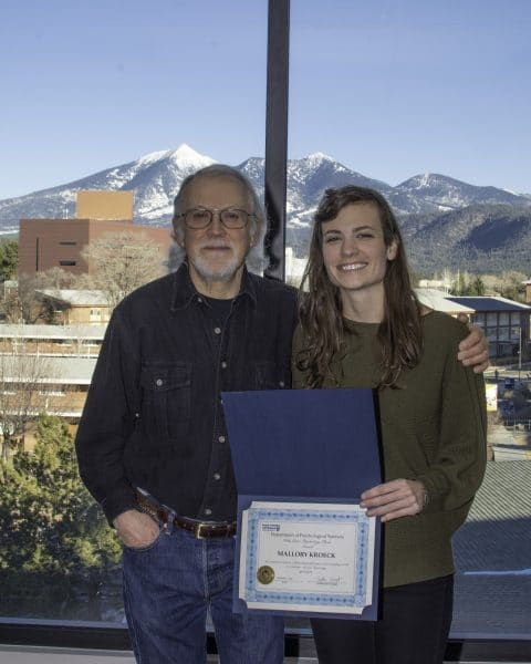 Photo of Dr. Larry Stevens with Vicki Green Award recipient Mallory Kroeck