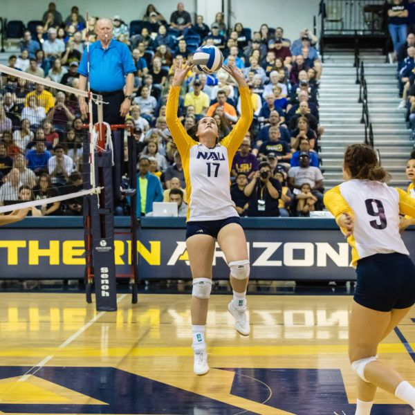 An NAU women's volleyball game in progress