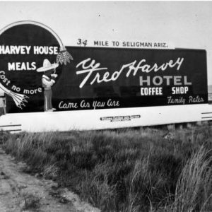 Billboard Advertising the El Navajo, Fred Harvey Hotel, Gallup, New Mexico