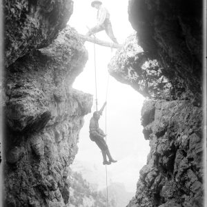 After a Difficult Picture. E. C. Kolb on the Rope. [Caption from E. L. Kolb 'Through the Grand Canyon from Wyoming to Mexico.']