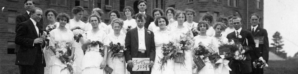 Graduating class of 1914 outside of Old Main, Northern Arizona Normal School