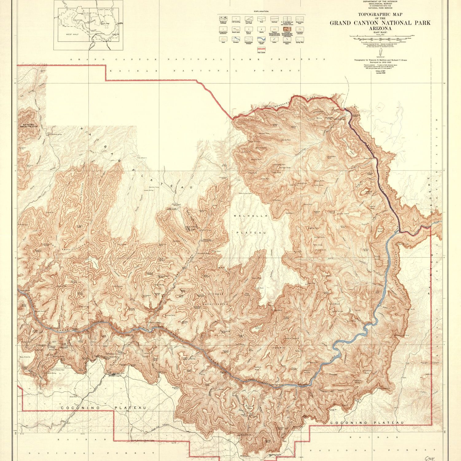 Grand Canyon east topographic map