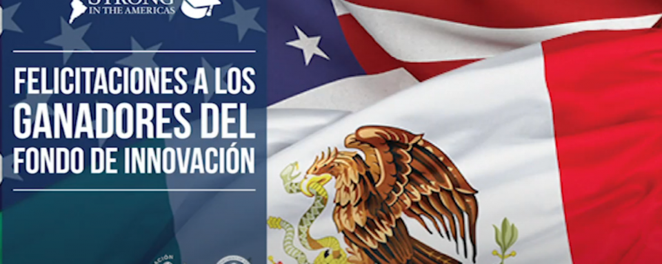 screen shot of american and mexican flags with 100K strong in the americas logos.