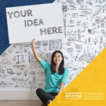 """smiling young Asian woman sitting in front of a white wall covered in design ideas holding a sign reading """"your idea here"""" with nau blue and gold corner colorings"""