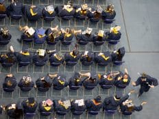 bio sciences graduates at nau commencement in flagstaff