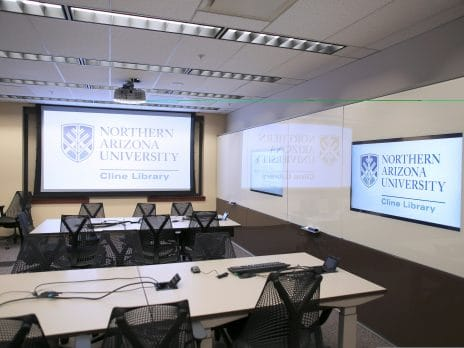 The NAU Cline Library Learning Studio with projector turned on.