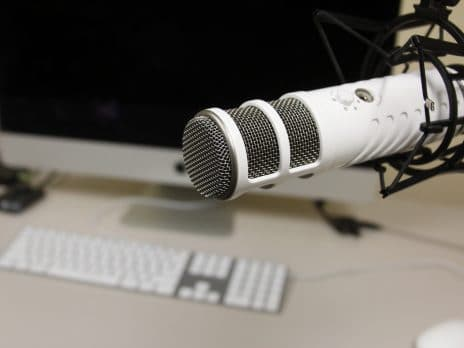 Close up shot of a white radio microphone at NAU.