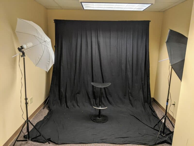 Interior of the Cline Library Photography Studio