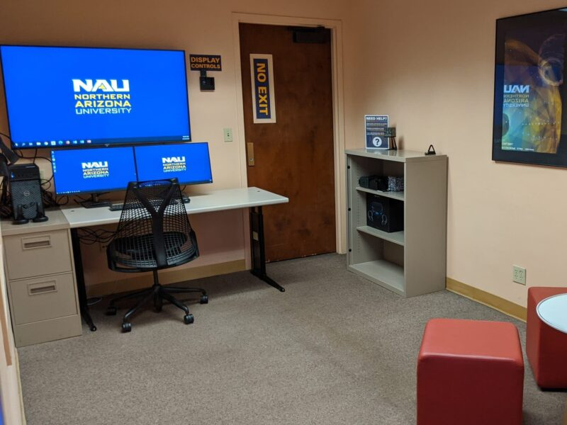 Interior of the Cline Library Extended Reality Studio