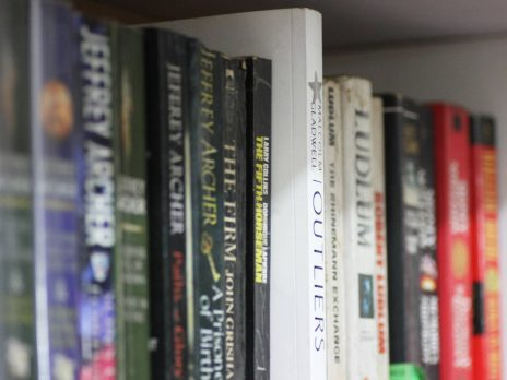 Close up of books on a bookshelf