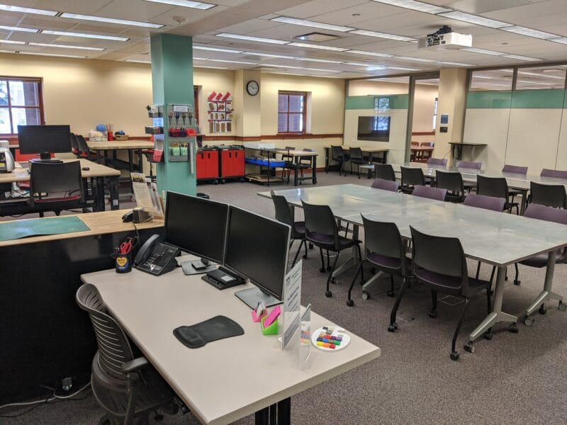 Interior view of the Cline Library MakerLab