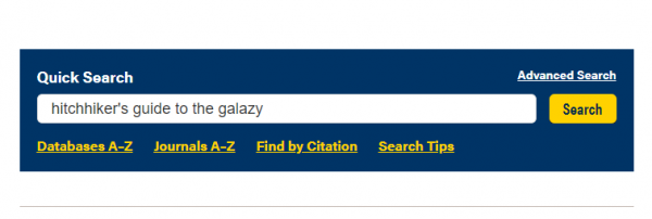 NAU Cline Library's Quick Search Bar