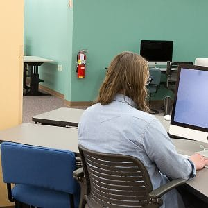 students using imacs in the studios
