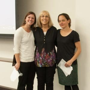 Professor Mary Damskey after receiving her Transformational Educator award, standing between presenters Katherine Mommaerts (left) and Melissa Riggs (right)