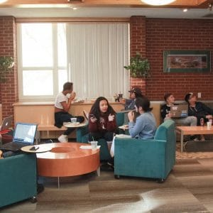 Allen Hall Lobby with students on laptops