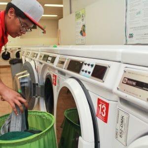 Gabaldon male student doing laundry