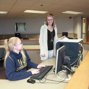 McConnell students working at Computer Lounge