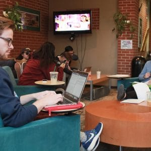 allen lobby study lounge with students studying