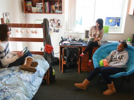 calderon female traditional room with diverse students hanging out