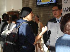 Jonathan Nez talking to student