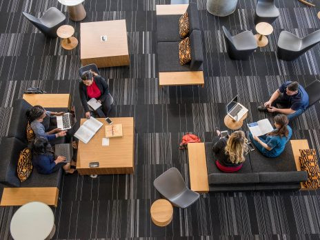 The NAU Testing Center with multiple students studying with tutors