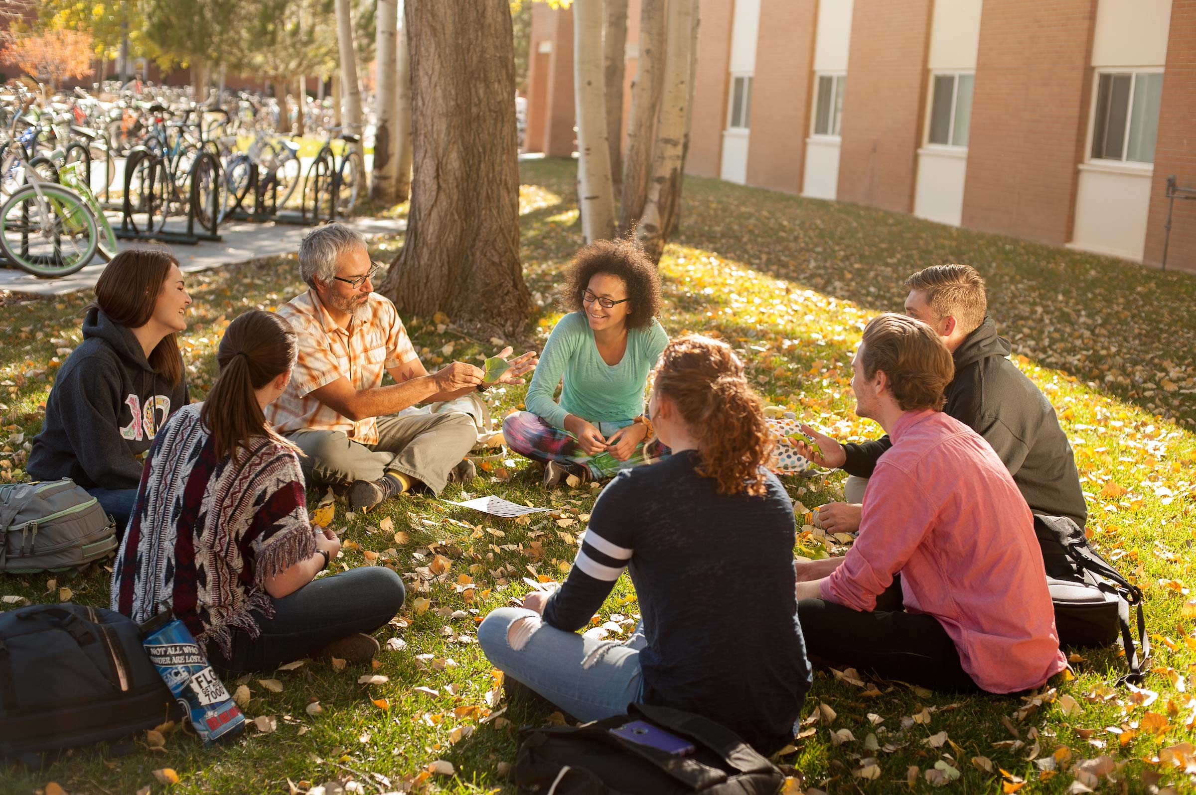 adults returning to college discuss degree completion sitting on grass in a circle