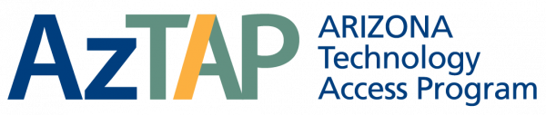The AzTAP logo has Arizona Technology Access Program written out on the right side next to A Z T A P in a colorful font.