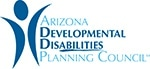 The Arizona Developmental Disabilities Planning Council's logo has the name written out next to am icon of an individual with it's hand raised. The abilities in disabilities is underlined.