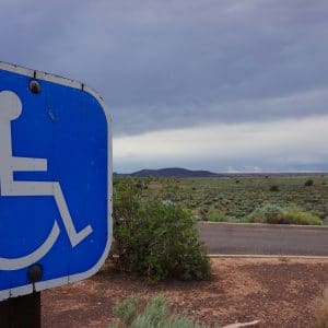 Remote accessible parking signage at Wupatki in Northern Arizona