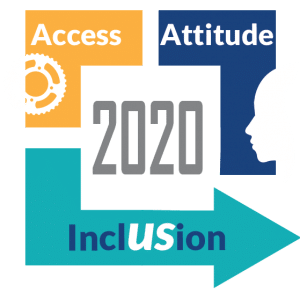 The logo for the Institute for Human Development's Evidence for Success Conference has the words Access, Attitude, and Inclusion located around the year 2020.