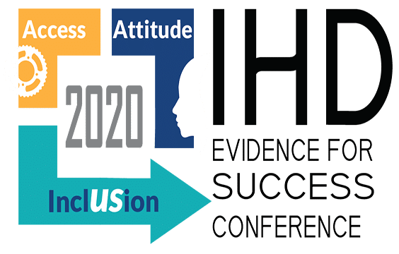 The 2020 IHD Evidence for Success Conference logo has word and icon elements. The words listed are Access, Attitude, and Inclusion surrounding the year 2020. Access has a gear icon, Attitude has a silhouette, and Inclusion is spelled out with the U and the S as US capitalized.