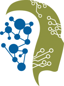 A profile of a head that is brandished with a connected, dotted network looks to the right and backwards revealing a blue connected, dotted network on the backside of the grraphic.