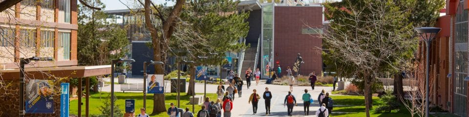 nau students walking to environmental class on the pedway