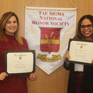 Two new Tau Sigma inductees with certificate