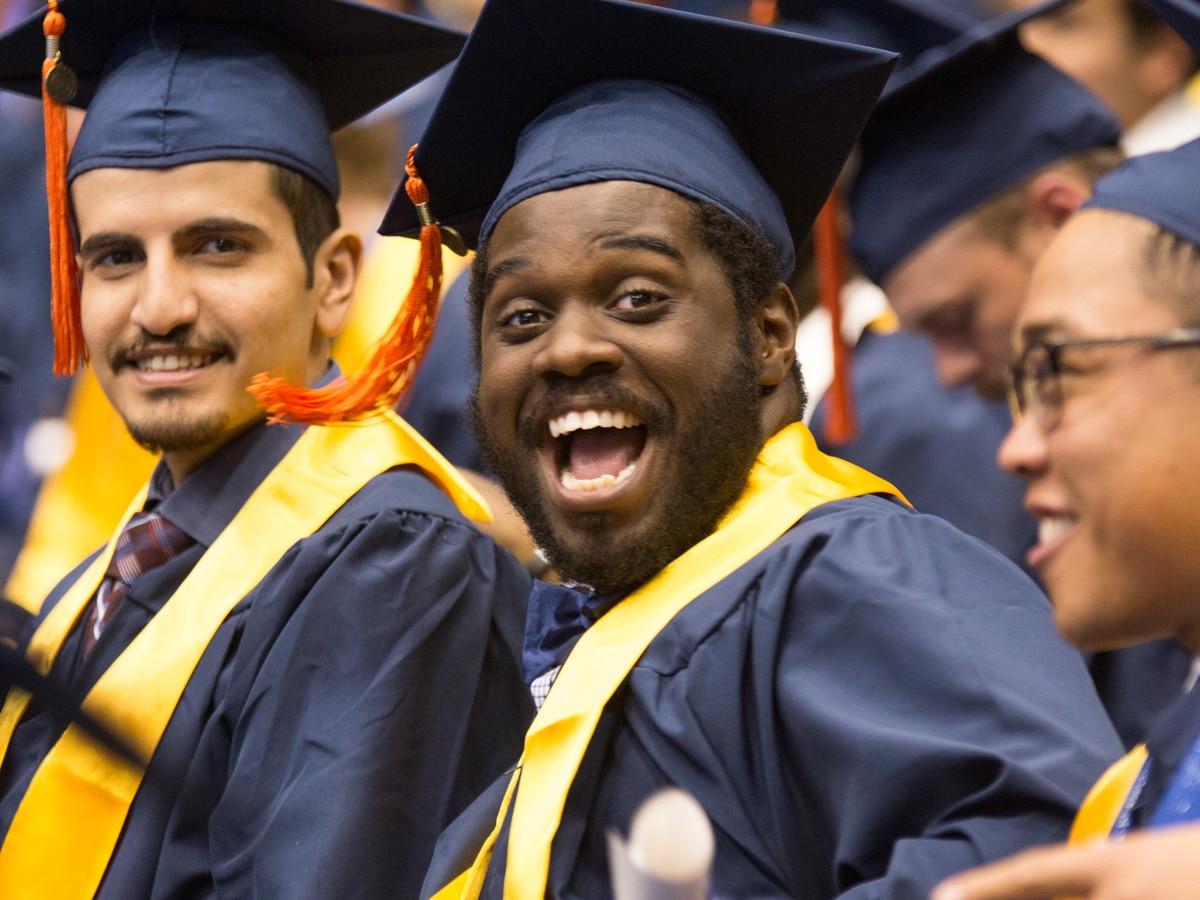 photo of engineering students at graduation ceremony