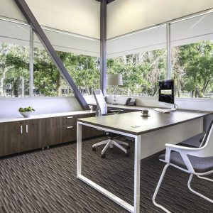 Ergonomic office with desk and chair