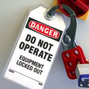 Danger Lock Out/Tag Out Equipment Locked