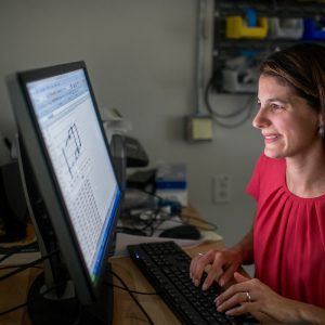 Heidi Feigenbaum working in her lab on computer