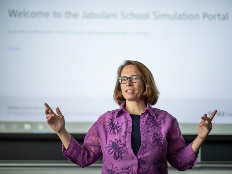 Gretchen McAllister talking in classroom