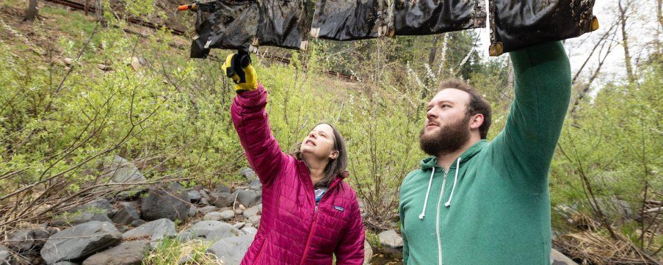 Jane Marks holding leaf samples from Oak Creek Canyon