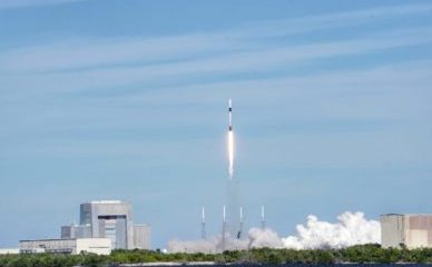 SpaceX Falcon 9 rocket launching from NASA's Kennedy Space Center in Cape Canaveral, Fla.