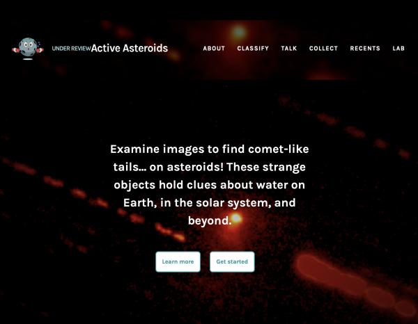 Screen shot of active astroids website