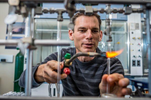 Ted Schuur workin in lab