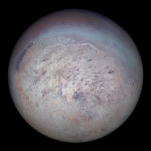 Image of Triton showing the moon's south polar region.