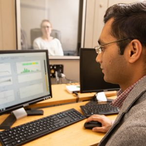 Ishan Bhatt working in the Auditory Research lab