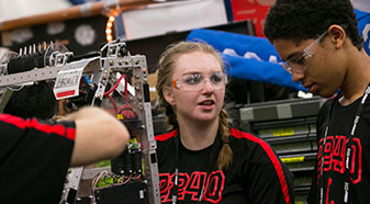 Students participate in a First Lego League Robotics challenge