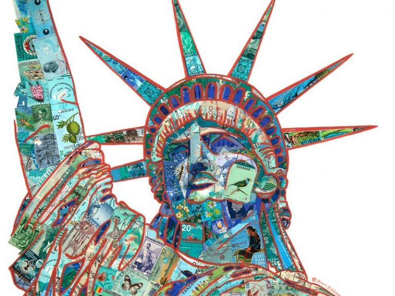 The Enduring Hope by Barbara Brandel. recycled world stamps and acrylic, on paper. Image of the head shoulder and uplifted arm of the statue of liberty