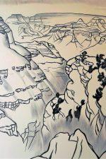 Grand Canyon, black and white drawing by Cyrus Baldridge